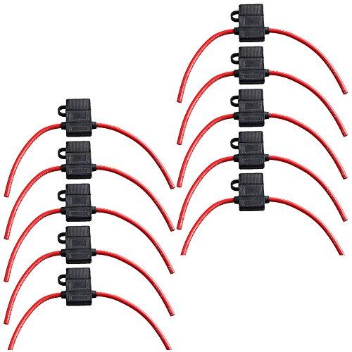 ESUPPORT 10Pcs 16 Gauge ATC Fuse Holder Box In-Line AWG Wire Copper 12V 30A Blade Standard Plug Socket