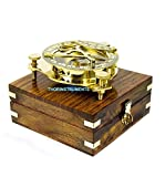 THORINSTRUMENTS (with device) Beautiful Nautical Sundial Compass With Level Meter Encased In Genuine Rosewood Anchor Inlaid Case Maritime Decor