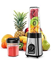 SHARDOR Personal Blender for Shakes and Smoothies Juice with 3 Adjustable Speeds,with 10oz & 20oz BPA-Free Portable Blender Cups,300W, Silver