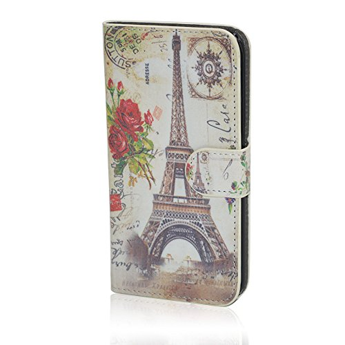 Samsung Galaxy S6 Edge Case, Ludan Painted Series Eiffel Tower PU Leather Flip Cover Wallet Case with Card Slots for Samsung Galaxy S6 Edge G9250