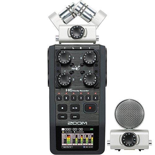 Zoom H6 Handy Portable Recorder and Zoom SGH-6 Shotgun Microphone Capsule Bundle