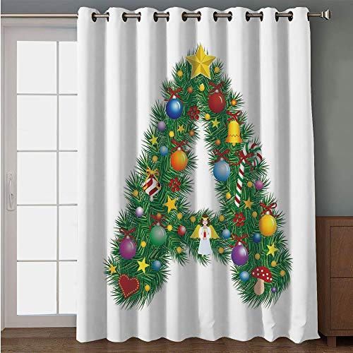 """Price comparison product image Blackout Patio Door Curtain, Letter A, Tree Star from Winter Celebrations Praying Angel Mini Stars Letter A Font Concept Decorative, Multicolor, for Sliding & Patio Doors,  102"""" W x96 L"""
