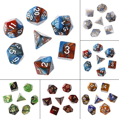 ULKEME 35pcs/Set Acrylic Polyhedral Dice For TRPG Board Game Dungeons And Dragons by ULKEME
