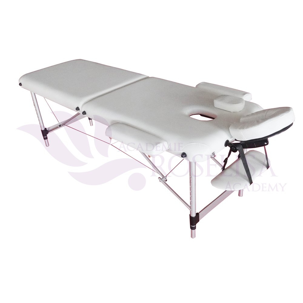 High Quality 2-Section Aluminum Portable Massage Table Bed (White) Roselisa Inc.