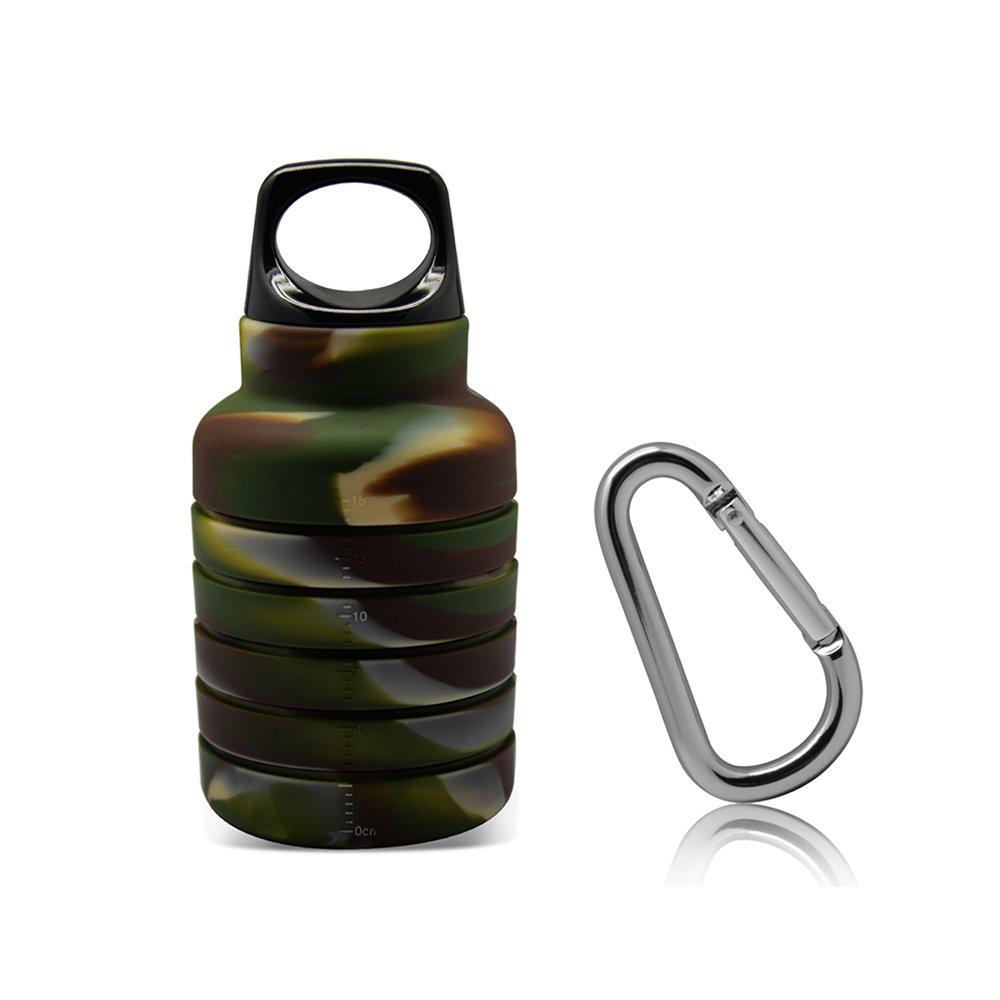 thinsgo折りたたみ式ウォーターボトル、折りたたみ可能なポータブルleak-proofシリコンケトル、軽量環境にやさしい再利用可能なDrinking Bottles with 250 – 500 ml for旅行キャンプハイキングウォーキング実行 B07C91XMD2  迷彩