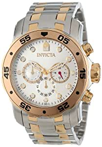 Invicta Men's 13671 Pro Diver Chronograph Silver Dial Two Tone Stainless Steel Watch