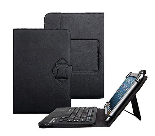 Leather Pedestal - Fire HD 10 Case with Keyboard - Tsmine Universal 2-in-1 Detachable Wireless Bluetooth Keyboard [QWERTY] w/Folio Leather Case Stand Cover [NOT include Tablet], Black