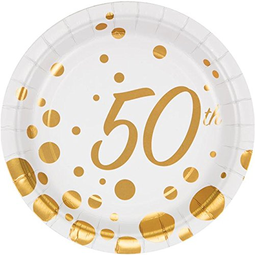 Sparkle & Shine 50th Golden Anniversary Paper party lunch Plates x 8 Creative Party