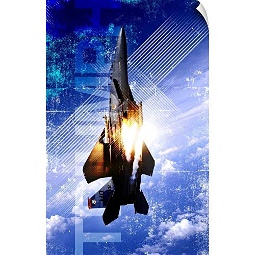 CANVAS ON DEMAND Military Grunge Poster: Triumph. an F-15E Strike Eagle pops Flares Wall Peel Art Print, - Pop Strike Flare