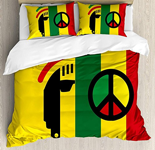 - WAZZIT Rasta 4 Piece Duvet Cover Set Queen Iconic Barret Reggae and Jamaican Music Culture with Peace Symbol and Borders Print Bedding Set with Zipper Closure Matching 2 Pillow Shams Red Green Yellow