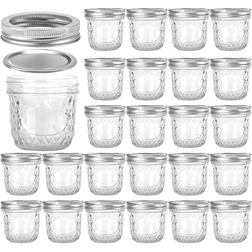 Wide Mouth Mason Jars 8 OZ, VERONES 8 OZ Mason Jars Canning Jars Jelly Jars With Wide Mouth Lids, Ideal for Jam, Honey, Wedding Favors, Shower Favors, Baby Foods, 24 PACK (Oven Safe Mason Jars)