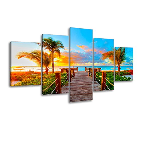 ing Decor, SZ 5 Piece Palm Tree Sunset Picture Canvas Wall Art, Ocean Canvas Prints for Bedroom, Ready to Hang, 1
