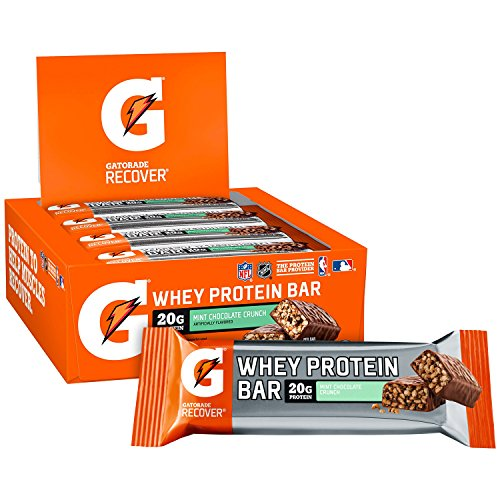 Gatorade Whey Protein Bars, Mint Chocolate Crunch, 2.8 oz bars (Pack of 12, 20g of protein per bar) ()