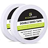 Eco-Fused Double Sided Adhesive Tape - for Arts and Crafts, DIY and Office - Quick and Easy to Use On Paper, Glass, Plastic, Wood, Metal and Fabric 2 Rolls - 10mm Width (White)