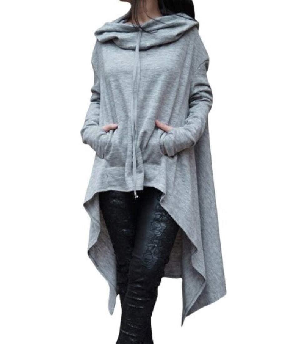 Zimaes-Women Pullover Solid Irregular Relaxed Fit Sweatshirt Hoodies