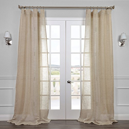 Half Price Drapes SHLNCH-J0106-108 Linen Sheer Curtain, Open Weave Natural (Linen Curtains 108)