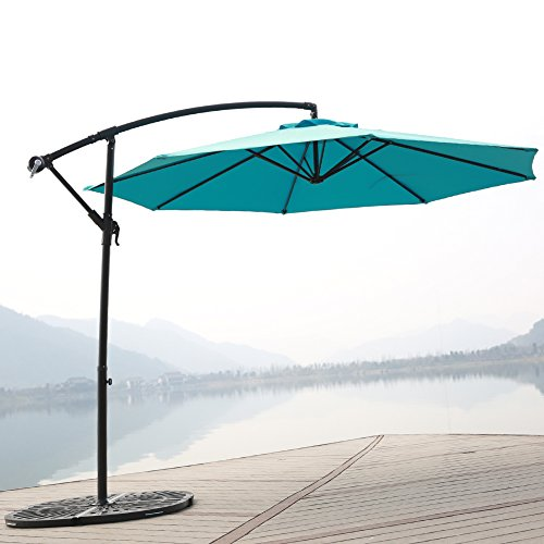 C-Hopetree 10' Offset Patio Umbrella, Outdoor Cantilever Umbrella with Cross Base, 250gsm Polyester Canopy, Light Blue (Patio Paving Sets)