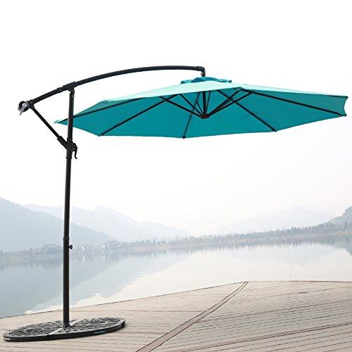 C-Hopetree 10' Offset Patio Umbrella, Outdoor Cantilever Umbrella with Cross Base, 250gsm Polyester Canopy, Light Blue