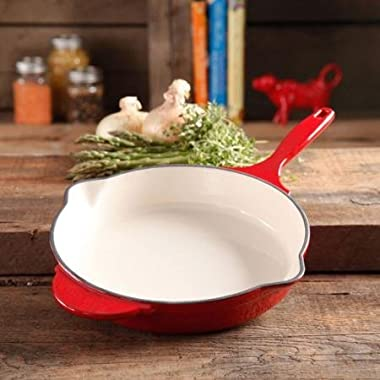 The Pioneer Woman Timeless Cast Iron, 12  Cast Iron Enamel Skillet (Red)