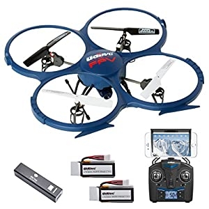 UDI U818A WiFi FPV Drone with Live Camera Feed - RC Quadcopter Drone with HD Camera and VR Headset Compatibility - Extra Battery and Power Bank For Longer Flight Time from UDI RC