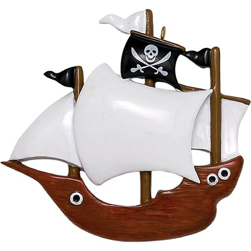 Ornaments by Elves Personalized Pirate Ship Christmas Ornament for Tree 2018 - Wooden Sailor Boat Adventurous War Vessel Caribbean - Boy Toddler Holiday Kids Toy - Free Customization by (Pirate Christmas Ornament)