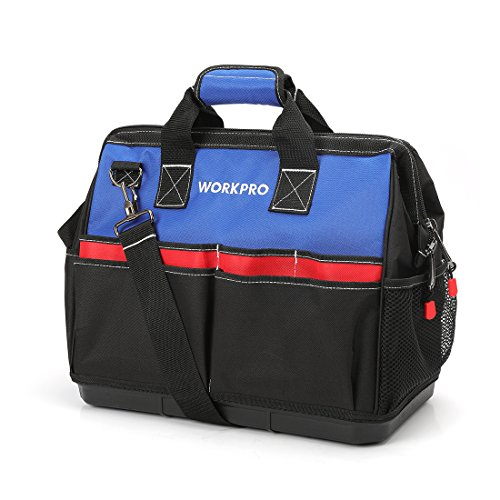 WORKPRO Tool Bag 18-Inch Wide Mouth Tradesman Tool Organizer with Water Proof Molded Base