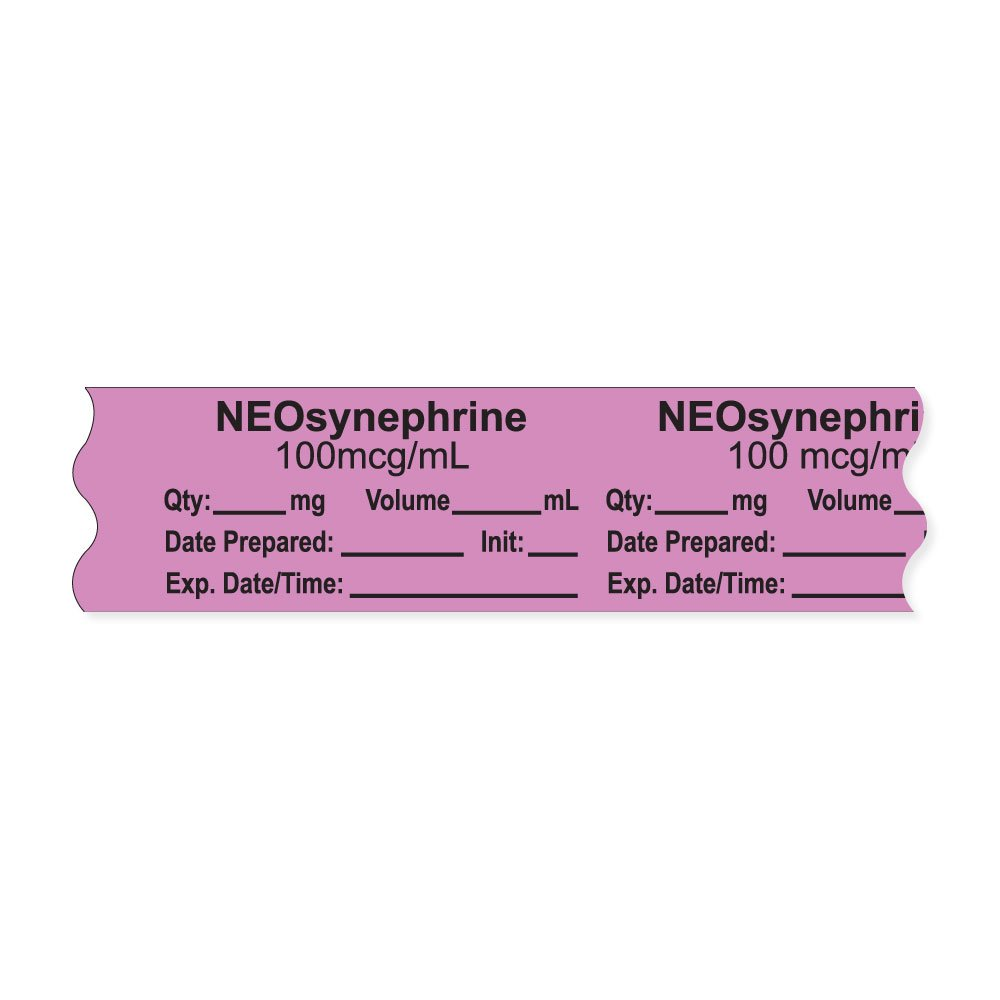 PDC Healthcare AN-2-72D100 Anesthesia Tape with Exp. Date, Time, and Initial, Removable, ''NEOsynephrine 100 mcg/mL'', 1'' Core, 3/4'' x 500'', 333 Imprints, 500 Inches per Roll, Violet (Pack of 500)