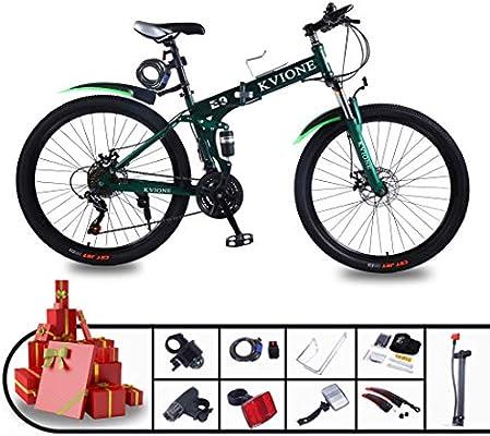 KVIONE E9 Bicicleta de montaña de 21 velocidades para hombres y mujeres Bicicleta de montaña MTB de 26 pulgadas Acero de alto carbono con bicicleta plegable de freno de disco de 21