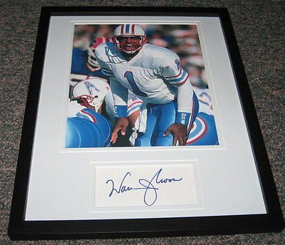- Warren Moon Signed Framed 11x14 Photo Display Oilers