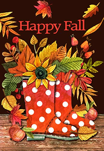 Lantern Hill Happy Fall Red Polka Dot Boots Garden Flag; Double Sided Autumn Decor; Leaves and Sunflowers; 12.5 x 18 inches; Seasonal Decorative Banner ()