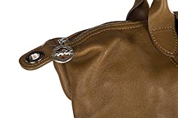 Longchamp women\'s leather handbag shopping bag purse brown