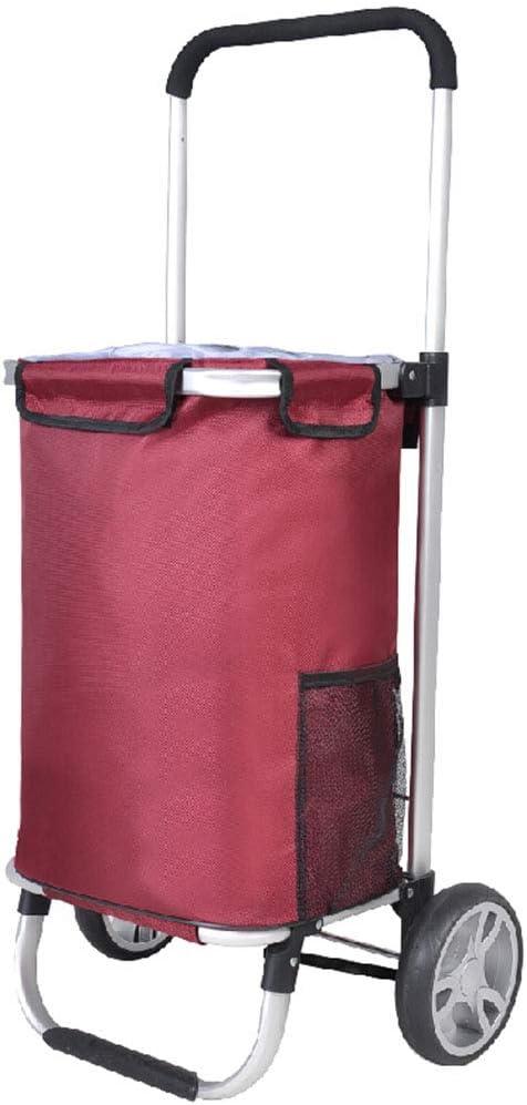 QL ポータブルトロリー車〜ショッピングトロリー折り畳み式シート付き高層階段耐摩耗PUホイール 手押し車 (Color : Red)