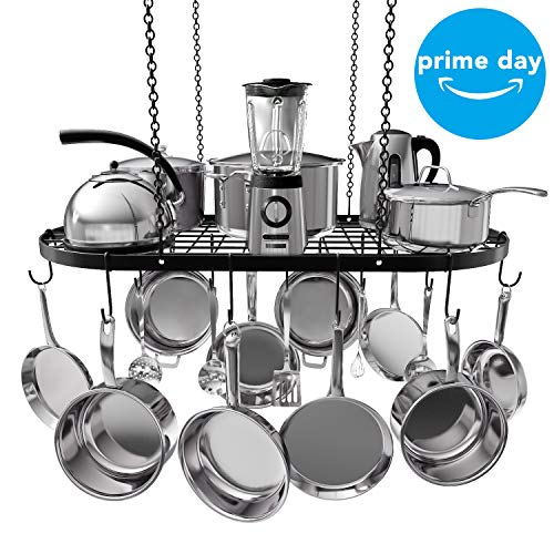 VDOMUS Pot Rack Ceiling Mount Cookware Rack Hanging Hanger Organizer with Hooks (33 x 17 Inch)