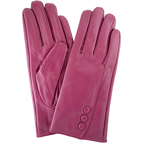 Ladies Butter Soft Leather Glove with Button Feature & Warm Fleece Lining, Pink - 7.5' (Large)