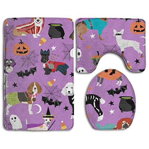 Dogs in Halloween Costumes - Dog Breeds Dressed Up Fabric - Purple_232 3 Piece Bath Mats, Bathroom Carpet Rug Non Slip Bathroom Mat Set ()