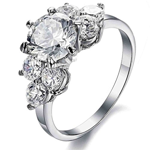 Bishilin Stainless Steel Fashion Women Rings Engagement Bands Round Cubic Zirconia Silver Size 8 24k Gold Vermeil Flower