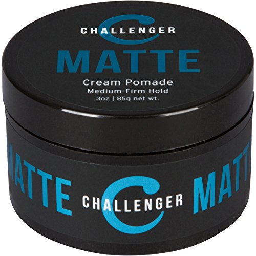 Matte Cream Pomade - Challenger 3oz - Medium Firm Hold - Water Based, Clean & Subtle Scent, Travel Friendly. Men's Hair Wax, Fiber, Clay, Paste, Styling Cream All In One (Styling Wax Head)