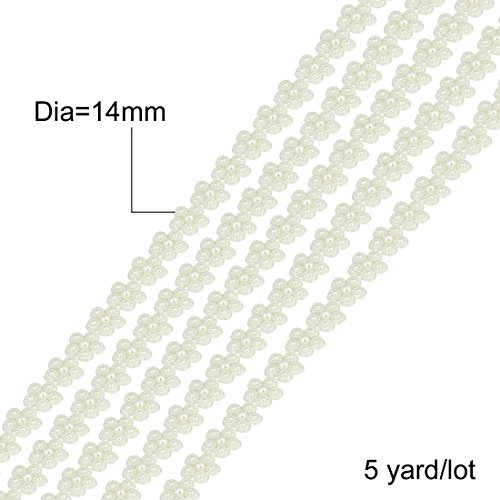 Linsoir Beads Dia 14mm Flat Back White Pearl Flower Chain Trims Roll Cup Chain Wedding Hanger Decoration 5 yards/lot