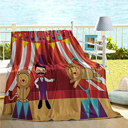Lion Tamer Horse (Mademai Circus Decor Collection Travel Blanket,Tamer and Lion Circus Performance Amusing Celebrating Decorative Party Image,Kids Blanket Red Purple Yellow Blue)