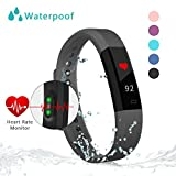 Fitness Tracker Watch With Heart Rate Monitor Bonebit Waterproof Outdoor Sportwatch with Pedometer Calories Counter and Sleep Monitor Bluetooth Wireless Smart Bracelet for Android& iOS Phone (Black)