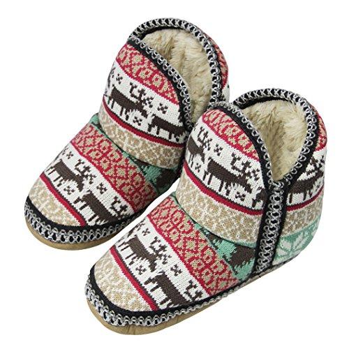 Super Frauen Wolle Baumwolle Rentier Slipper Warme Slipper Dicker Stiefel Muster Schöne Fleece Winter Haushalts Ultra Gestrickte X7rn7pRS