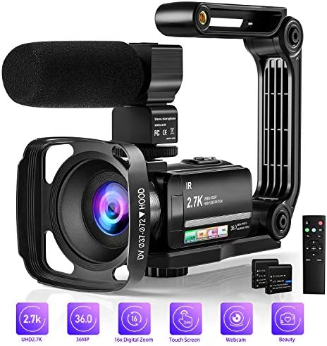 Video Camera Camcorder Digital Youtube Vlogging Camera, 2.7K Full HD 36MP/30FPS, IR Night Vision, 3.0 IPS Touch Screen, 16X Digital Zoom, Video Camcorder with Microphone, Remote Control, 2 Batteries