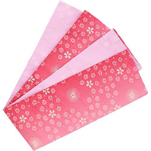 ルーキートレイルセブン(キステ) Kisste 半幅帯 浴衣用?普段用 ポリエステル100% <ピンク/小桜と小梅> 日本製 5-8-03489