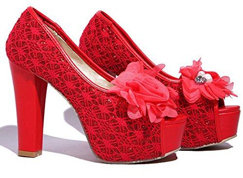 Femme Plateforme Rouge Aisun Sexy Sandales Fleurs Ornement d0yIqF