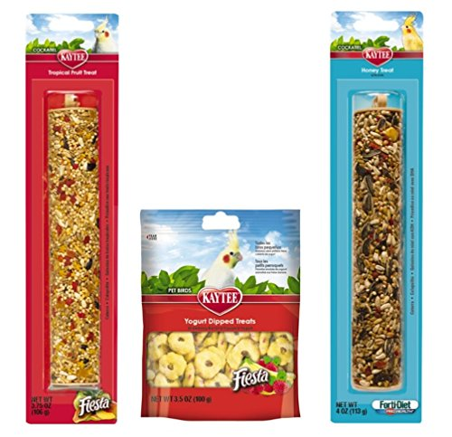 Each Tropical Fruit - Kaytee Cockatiel, Lovebird, Parakeet and Conure Treats 3 Flavor Variety Bundle (1) Each: Honey Stick, Tropical Fruit Stick, and Yogurt Dipped Treats
