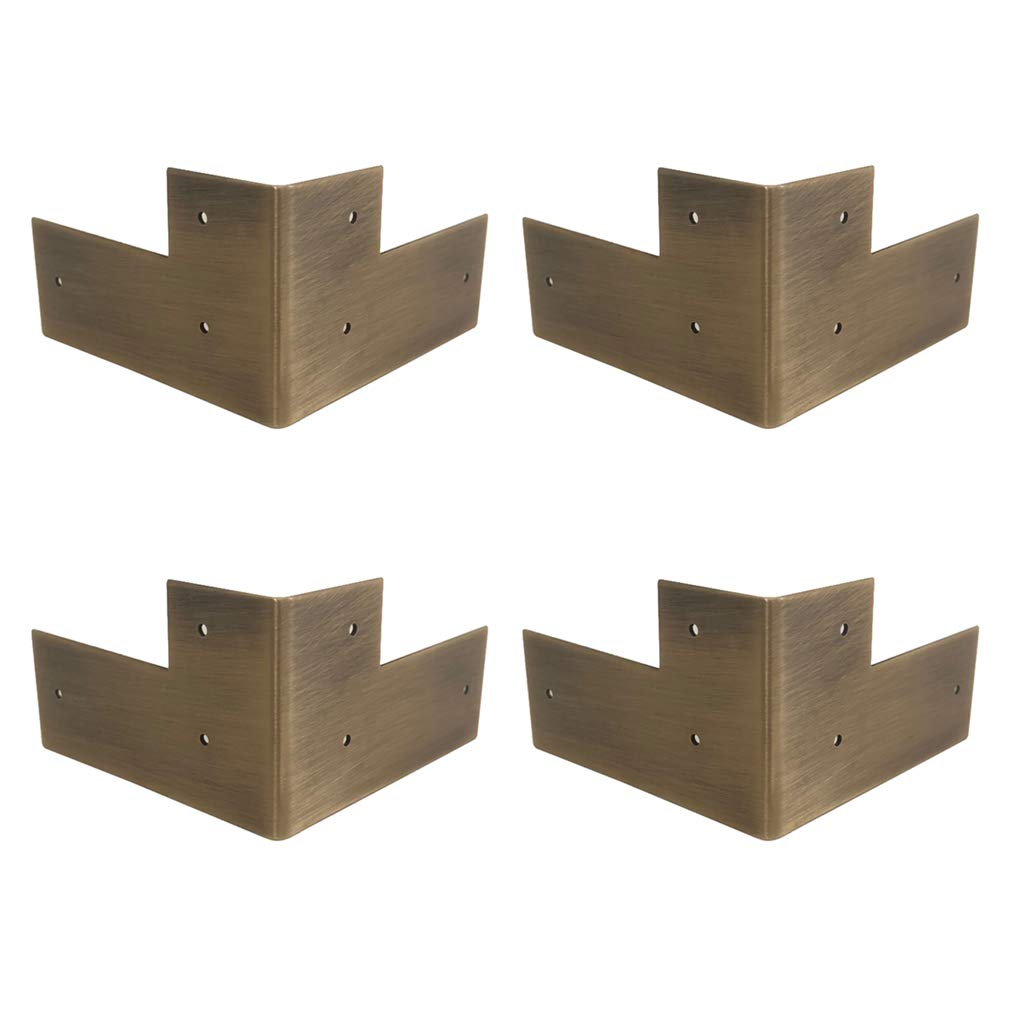 Tiazza 4Pcs Antique Pure Brass Corner Protectors Braces Classical Furniture Tables and Chairs Cabinet Corner Guard Edge Cover (Antique Bronze)