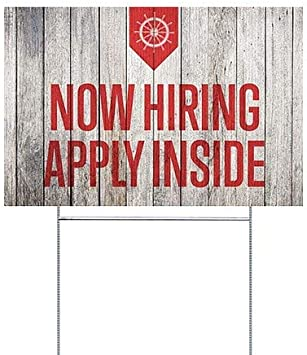 CGSignLab 18x12 5-Pack Nautical Wood Double-Sided Weather-Resistant Yard Sign Now Hiring Apply Inside