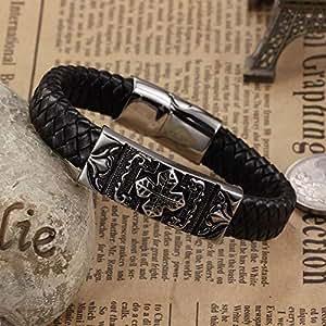 Men's handmade Titanium steel Silicone leather fashion bracelet (P895)