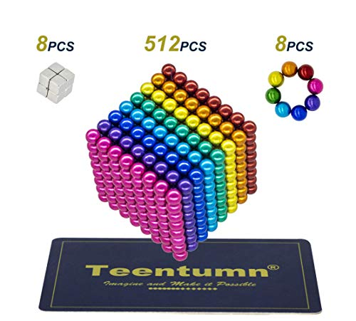 (Teentumn 528 Pieces 5mm Sculpture Building Blocks Toys for Intelligence Learning -Office Toy & Stress Relief for Adults Rainbow Colorful)