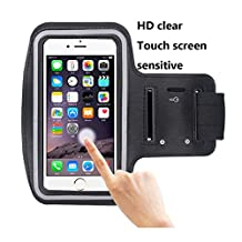 Cell-Phone-Armband,iBarbe up 5.5 Inch-Case for iPhone-7-6-6S-SE, 5, 5C, 5S, and sansung-Galaxy-S5- Google-Pixel - Adjustable-Velcro-Workout-Band, Key-Holder-Built in-Screen-Protector (Black)